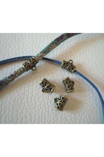 Attaches breloques bronze filigranées x 5