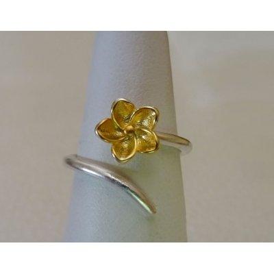 Bague en argent 925 et fleur dorée