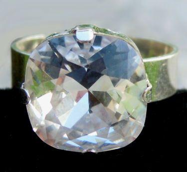 Bague cabochon carré Swarovski Crystal