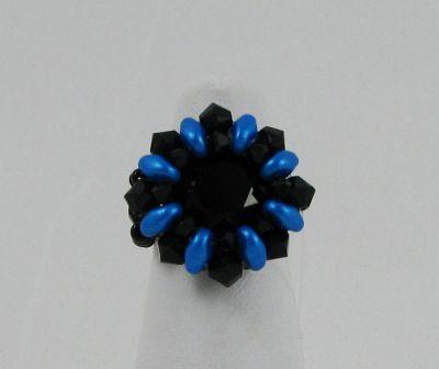 Bague en kit Saba noire et bleue