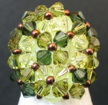 Bague en perle Agate kaki ( en kit )