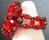 Bague en perle Agate rouge (en kit)