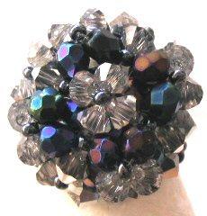 Bague en perles Swarovski Anakena bleu irisé (kit)