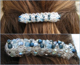 Barrette en perles bleues en kit