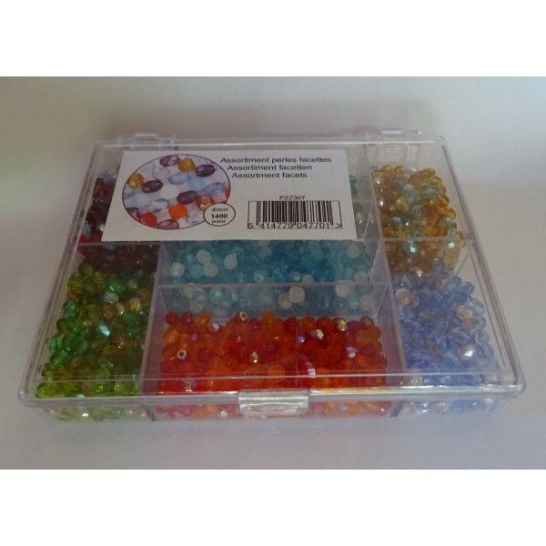 Boîte de perles 1400 Facettes mix multicolore