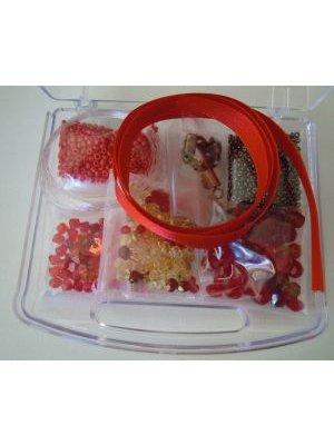 Boîte de perles valisette Rouge et orangé