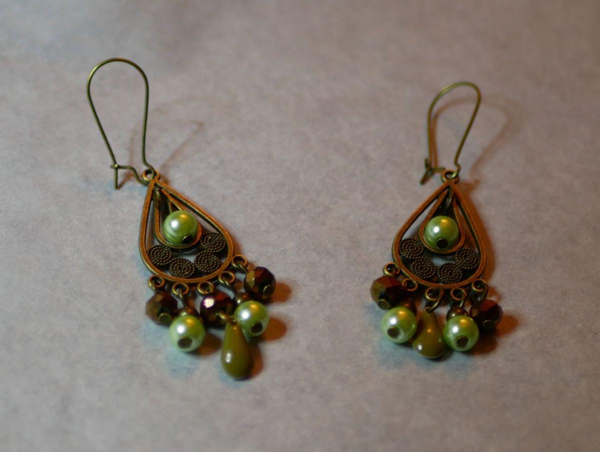 Boucles d'oreilles Bohème Vert et bronze