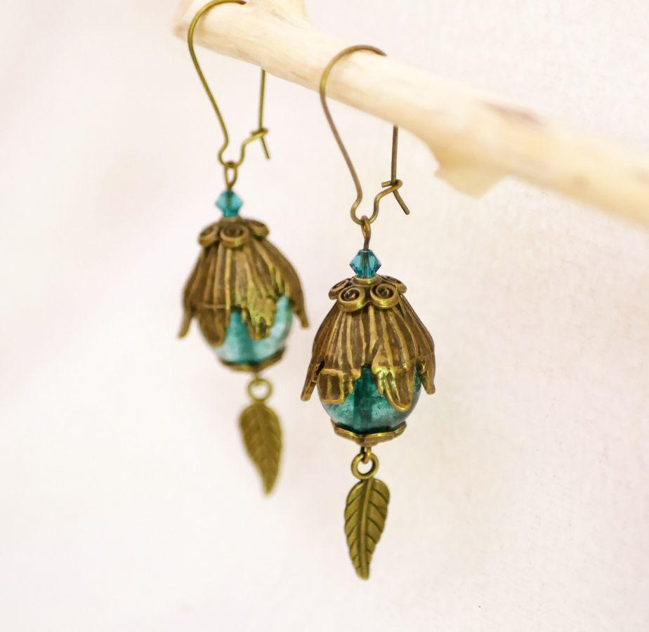 Boucles d'oreilles Bohème Quartz turquoise