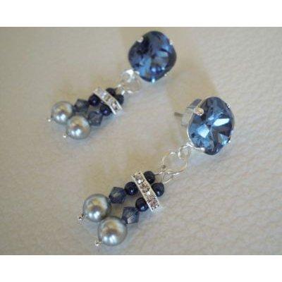 Boucles d'oreilles Cabochons Double bleu