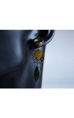 Boucles d'oreilles cabochons Kaki, sequins et estampes