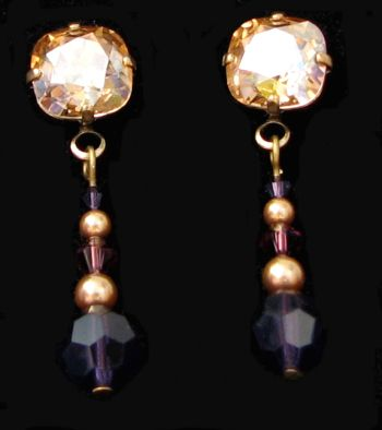 Boucles d'oreilles Cabochons Prune & or