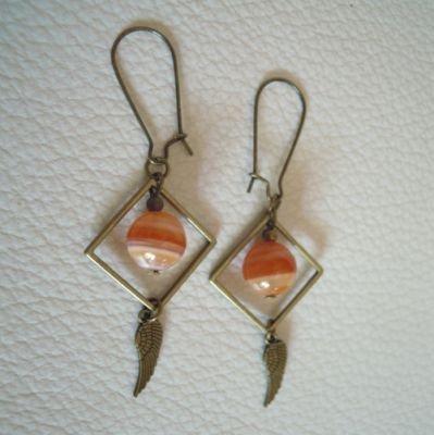 Boucles d'oreilles Carrés pierres Sardonyx