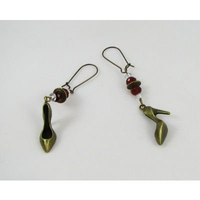 Boucles d'oreilles Escarpins et cristal rouge