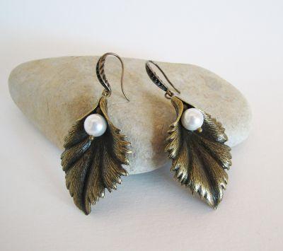 Boucles d'oreilles Feuille à la perle