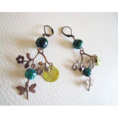 Boucles d'oreilles Fleurs laiton et perles