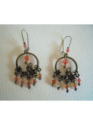 Boucles d'oreilles Fleurs Orange/rose