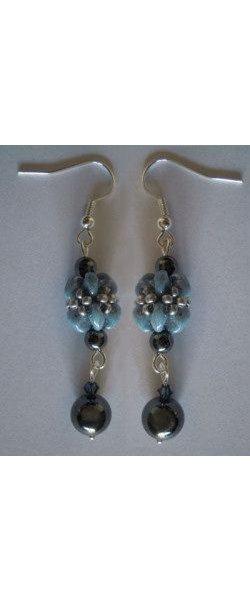 Boucles d'oreilles en kit Bleu & Hématite
