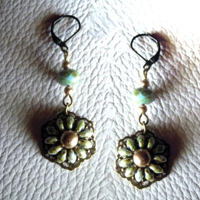 Boucles d'oreilles en kit estampes Violet/vert