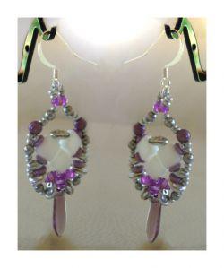 Boucles d'oreilles en kit Silkade Blanc Violet
