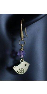 Boucles d'oreilles Oisillons dorés perles violettes