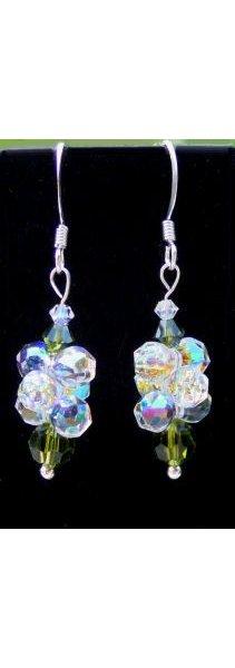 Boucles d'oreilles pendentif de perles Olivine