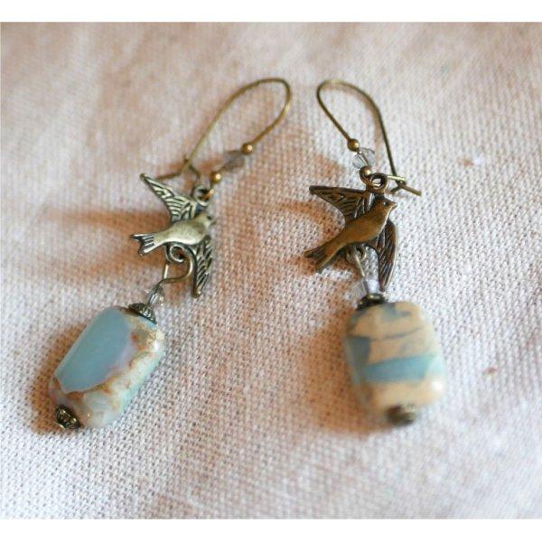 Boucles d'oreilles pierre & oiseau