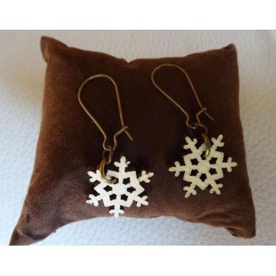 Boucles d'oreilles Flocons de neige en bois