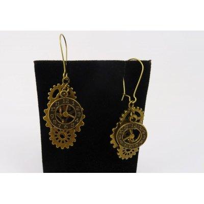 Boucles d'oreilles Steampunk engrenages+cadran