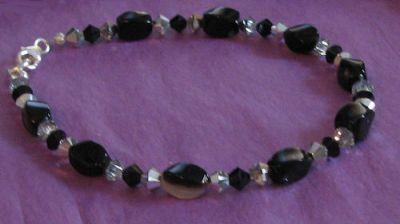 Bracelet Agates noires & cristal Swarovski