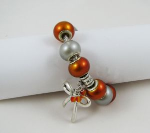 Bracelet argenté perles Orange et Noeud