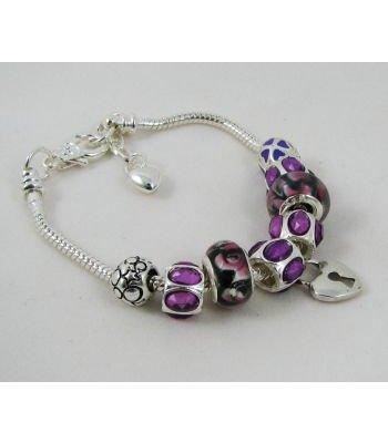 Bracelet argenté perles Violet charme Coeur adaptable
