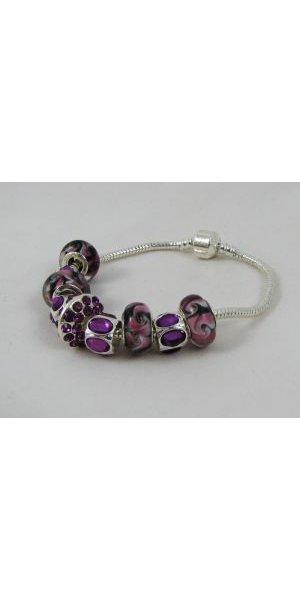 Bracelet argenté perles Violet et Strass