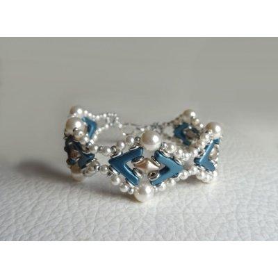 Bracelet Avalon Bleu blanc nacré en kit