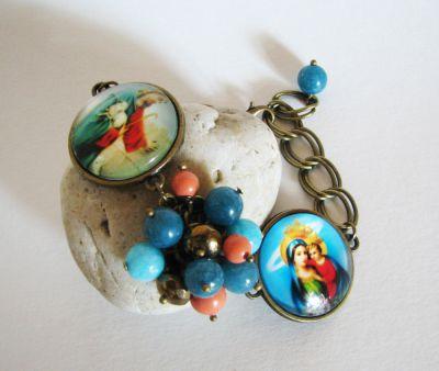 Bracelet cabochons Jésus et Marie sur chaîne