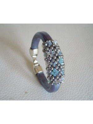 Bracelet en cuir épais Swarovski bleu