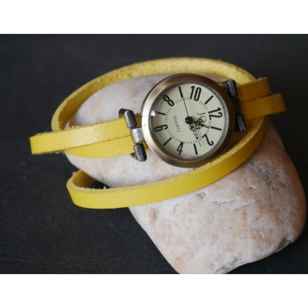 Bracelet cuir jaune fin triple tour