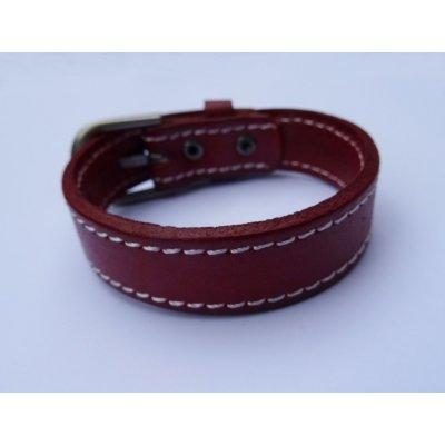 Bracelet en cuir Marron couture à personnaliser