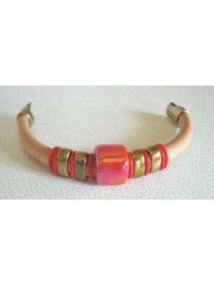 Bracelet cuir Regaliz Céramique Rouge