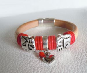 Bracelet cuir Regaliz Love rouge