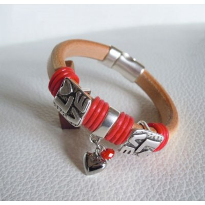 Bracelet cuir Regaliz Love rouge