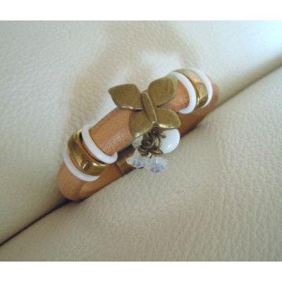 Bracelet cuir Regaliz Naturel et blanc Papillon