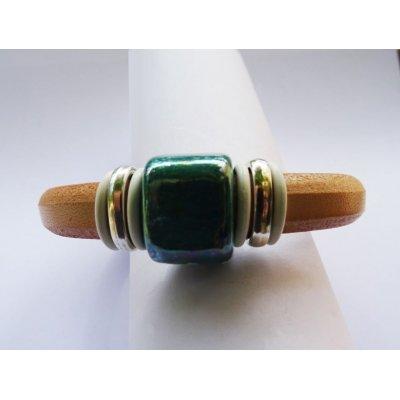 Bracelet cuir Regaliz céramique turquoise
