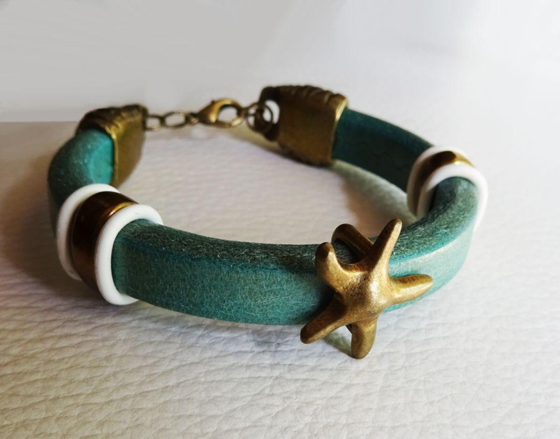 Bracelet cuir Regaliz turquoise Etoile de mer