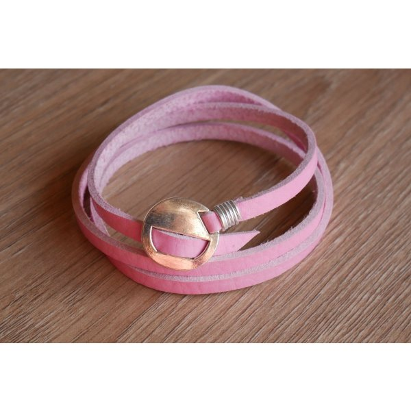 Bracelet cuir rose fin triple tour