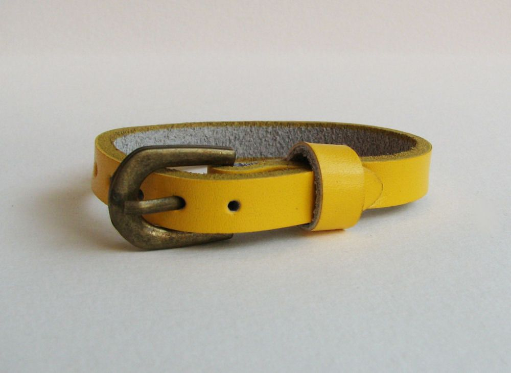 Bracelet cuir simple tour Jaune pour montre