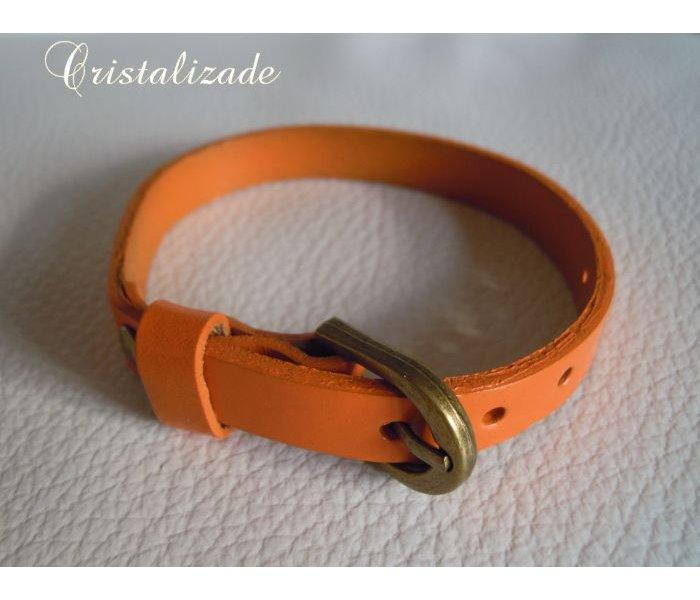 Bracelet cuir simple tour Orange pour montre