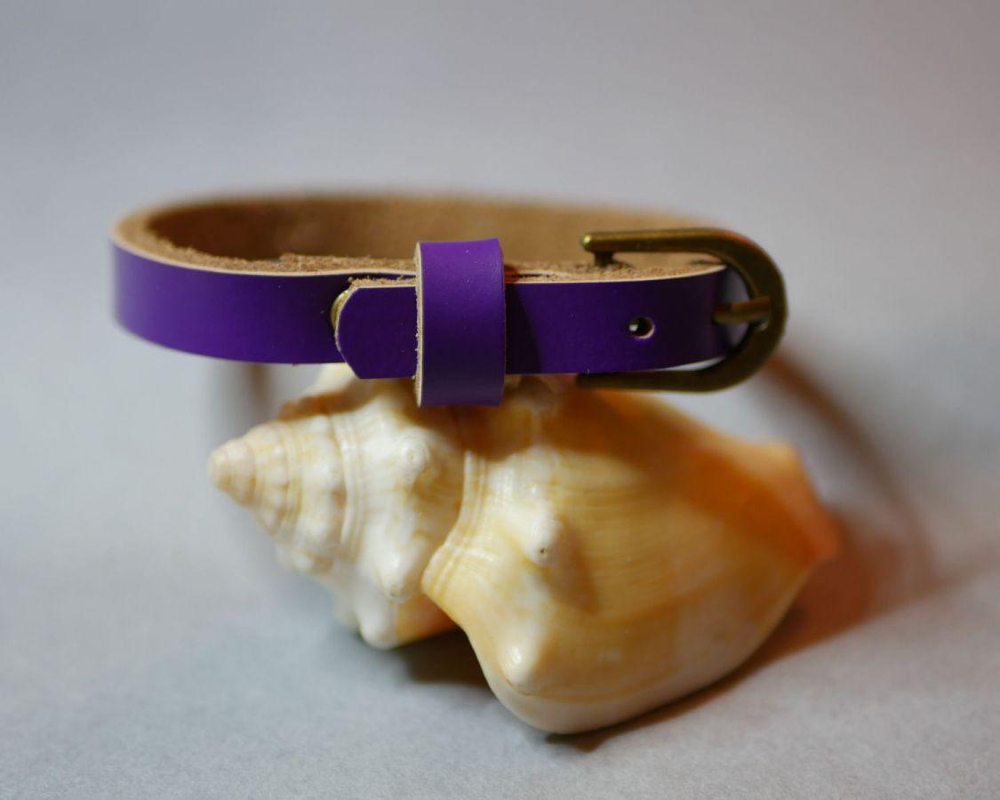 Bracelet cuir simple tour Violet pour montre