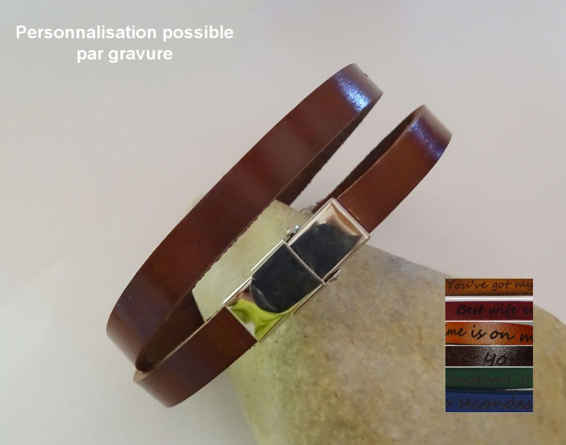 Bracelet cuir 2 tours fermoir ajustable