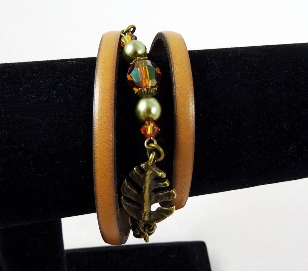 Bracelet cuir 3 tours Feuilles et cristal cuivre