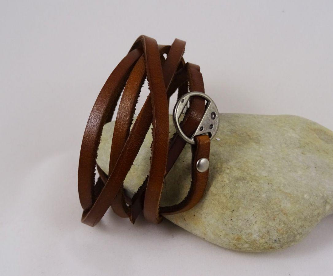Bracelet cuir 5 tours Marron ajustable